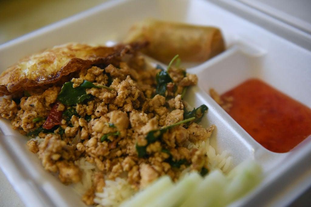 Basil chicken, by Nuu Thai Food Truck