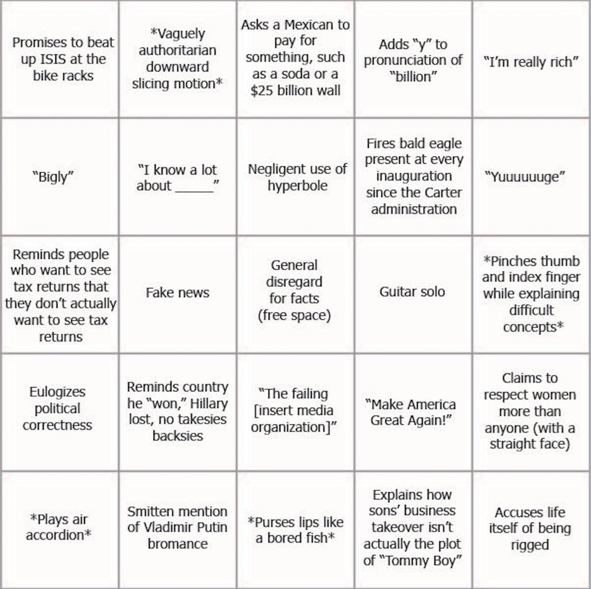Trump Bingo 3.0