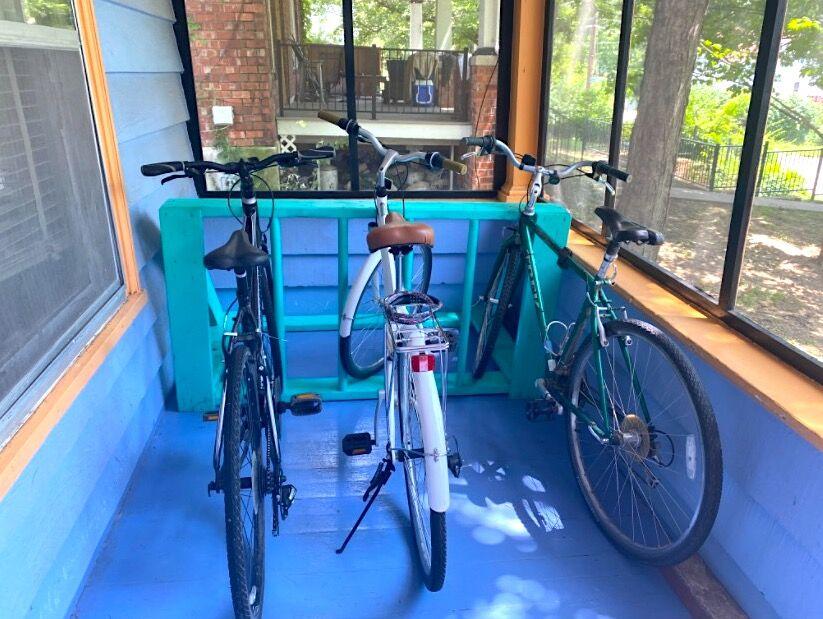 Porch bike rack
