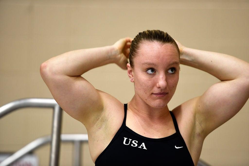 Lauren Reedy practices platform diving