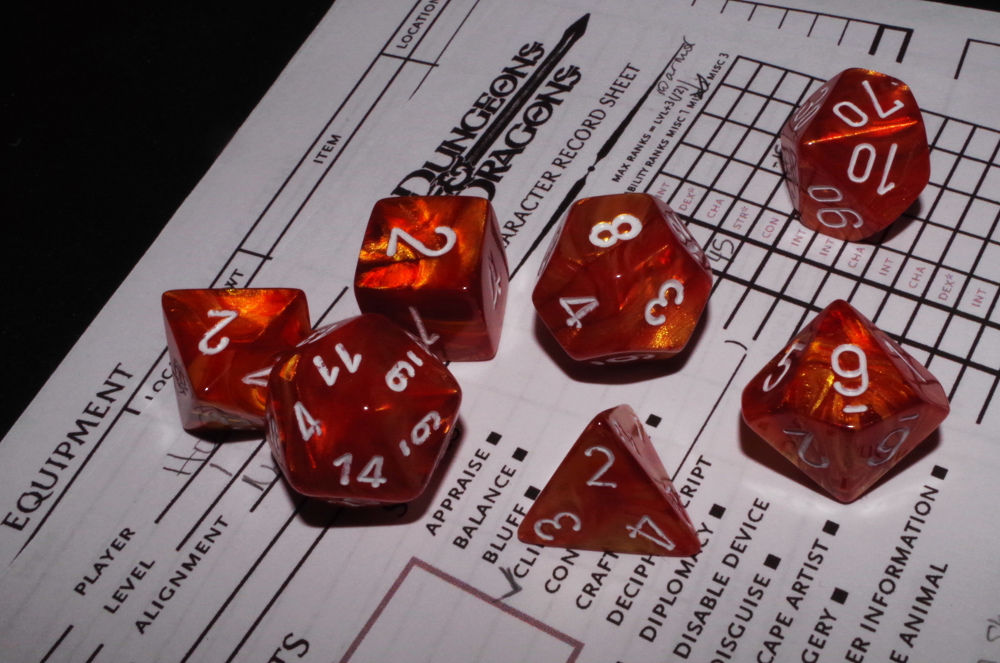 D&D dice and character sheet