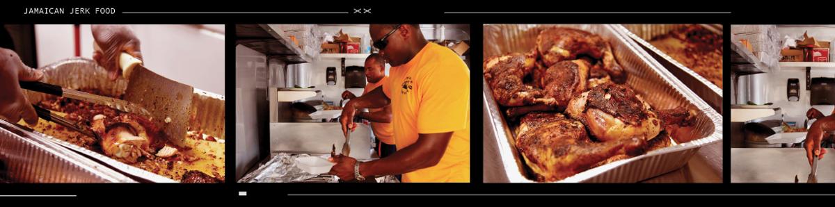 Jamaican jerk food film strip