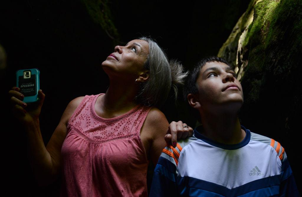 Patricia Moak and her son Jacob Moak, 15, take in the above scenery