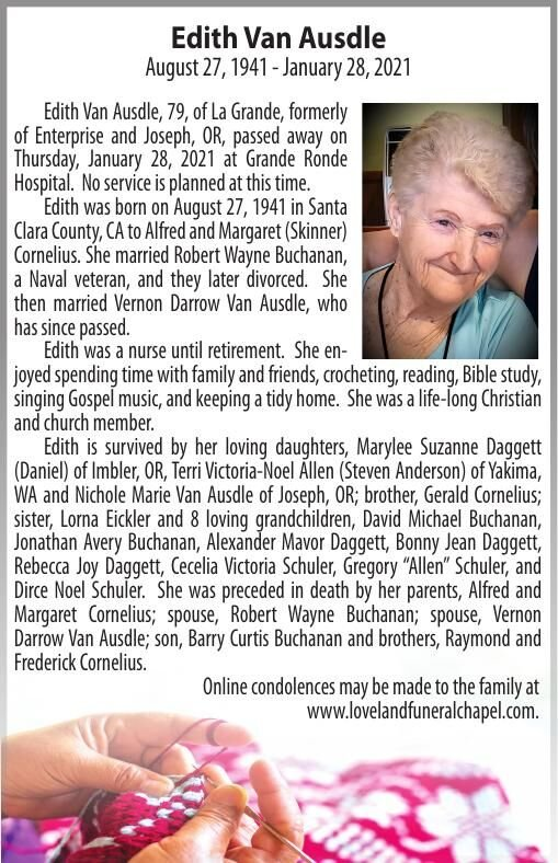 Obituary: Edith Van Ausdle, August 27, 1941 — January 28, 2021