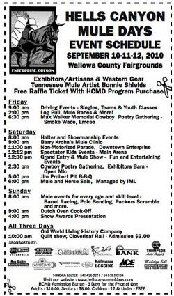 Hells Canyon Mule Days event schedule