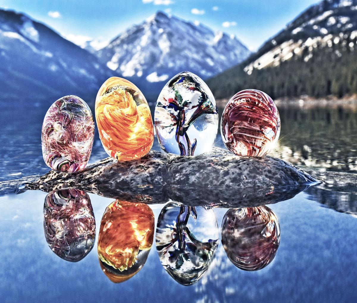 Glass eggs at lake