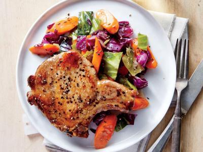 pork chops and veggies
