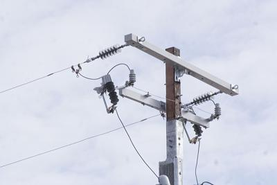 Repaired power pole