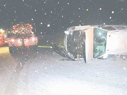Snow causes pickup and 4-wheeler rollovers