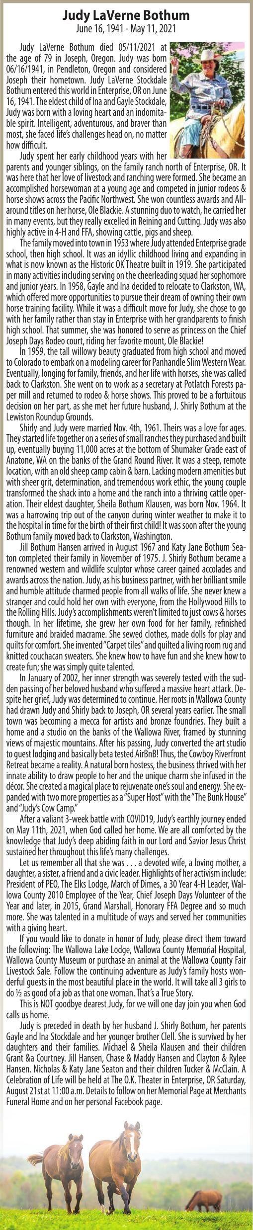 Obituary: Judy LaVerne Bothum, June 16, 1941 - May 11, 2021