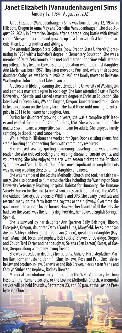 Obituary: Janet Elizabeth (Vanaudenhaugen) Sims, January 12, 1934 - August 27, 2021