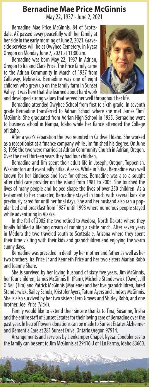 Obituary: Bernadine Mae Price McGinnis, May 22, 1937 - June 2, 2021