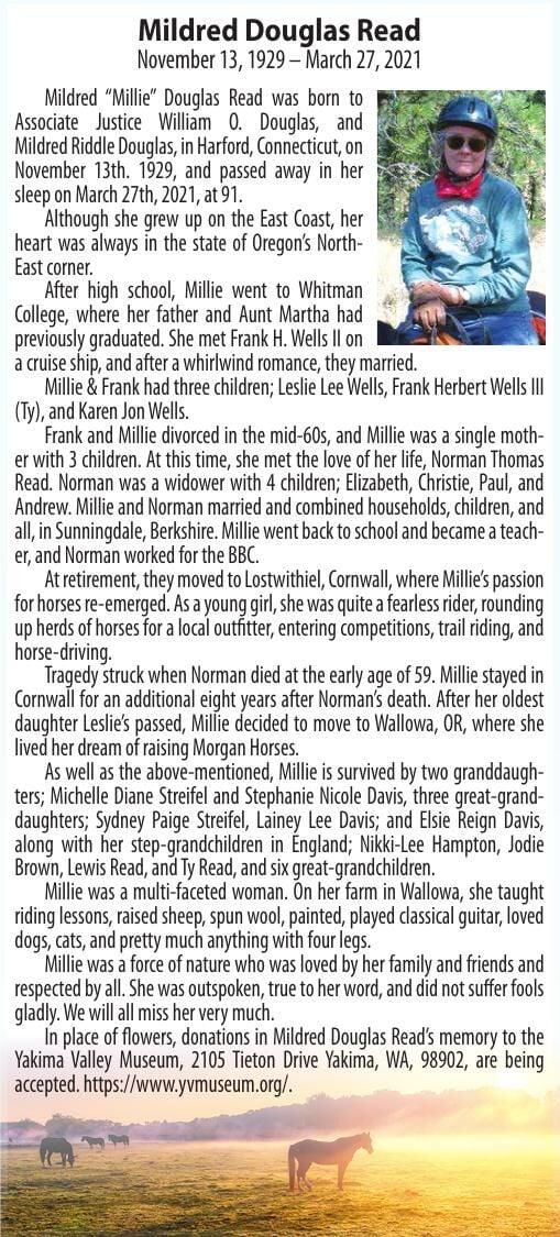 Obituary: Mildred Douglas Read, November 13, 1929 – March 27, 2021