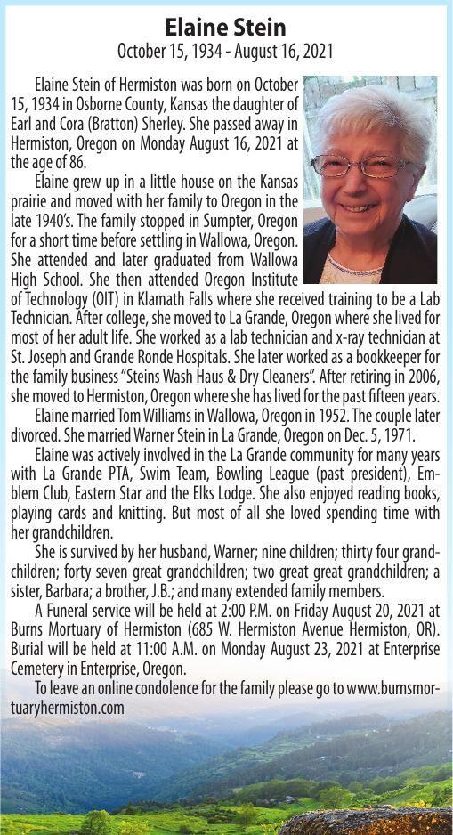 Obituary: Elaine Stein, October 15, 1934 - August 16, 2021