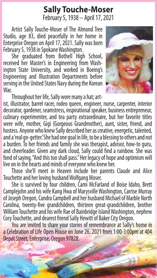 Obituary: Sally Touche-Moser, February 5, 1938 – April 17, 2021
