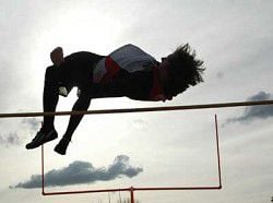 One-legged Perren jumps to new heights