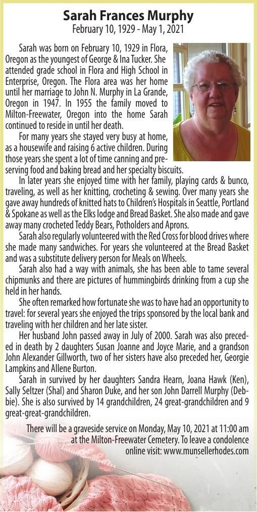 Obituary: Sarah Frances Murphy, February 10, 1929 - May 1, 2021