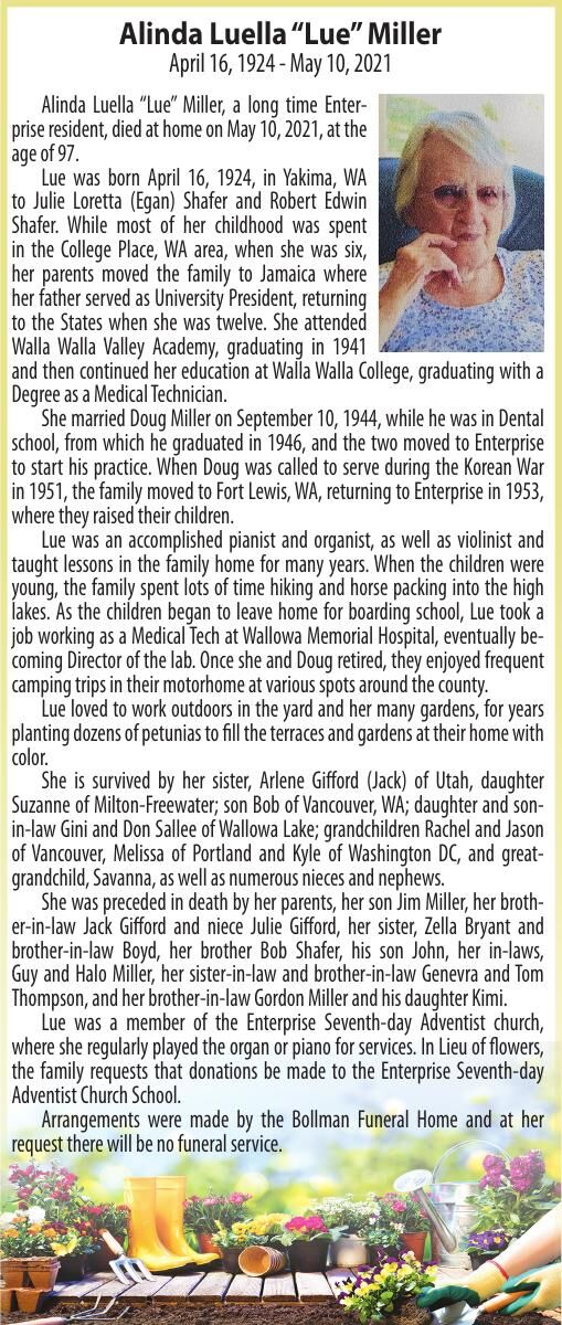 "Obituary: Alinda Luella ""Lue"" Miller, April 16, 1924 - May 10, 2021"