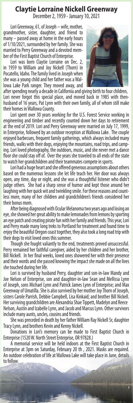 Obituary: Claytie Lorraine Nickell Greenway, December 2, 1959 - January 10, 2021