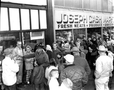 Joseph residents gathering for the holiday give-away raffles.
