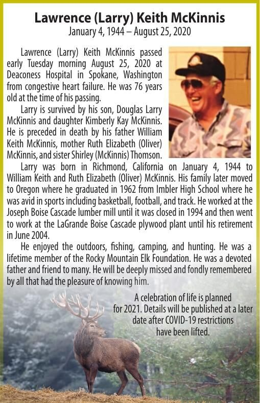Obituary: Lawrence (Larry) Keith McKinnis, January 4, 1944 – August 25, 2020