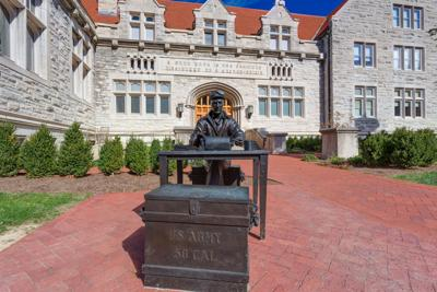 Ernie Pyle Sculpture and Franklin Hall