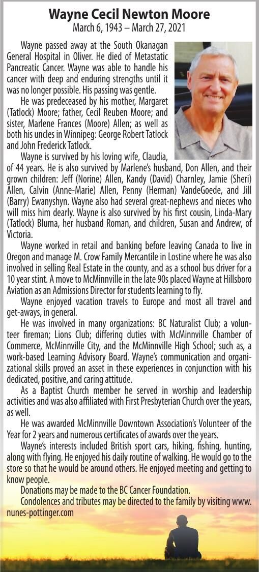 Obituary: Wayne Cecil Newton Moore, March 6, 1943 – March 27, 2021