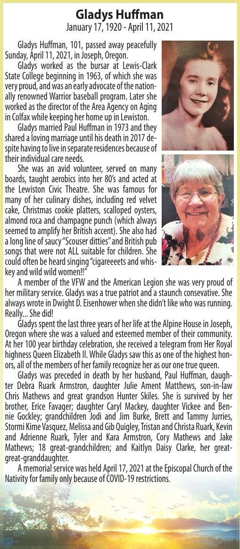 Obituary: Gladys Huffman, January 17, 1920 - April 11, 2021