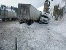 Jackknifed truck contained radioactive waste