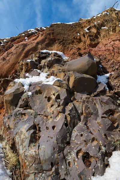 Wapshilla Ridge basalt exposed in a road cut