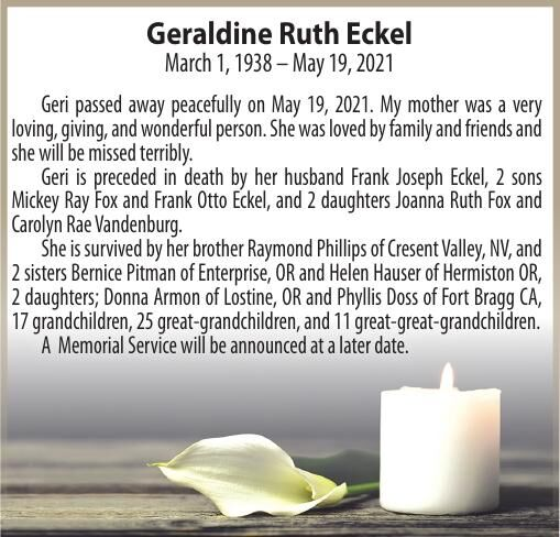 Obituary: Geraldine Ruth Eckel, March 1, 1938 – May 19, 2021