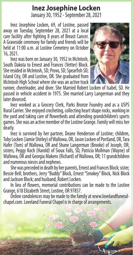 Obituary: Inez Josephine Locken, January 30, 1952 - September 28, 2021