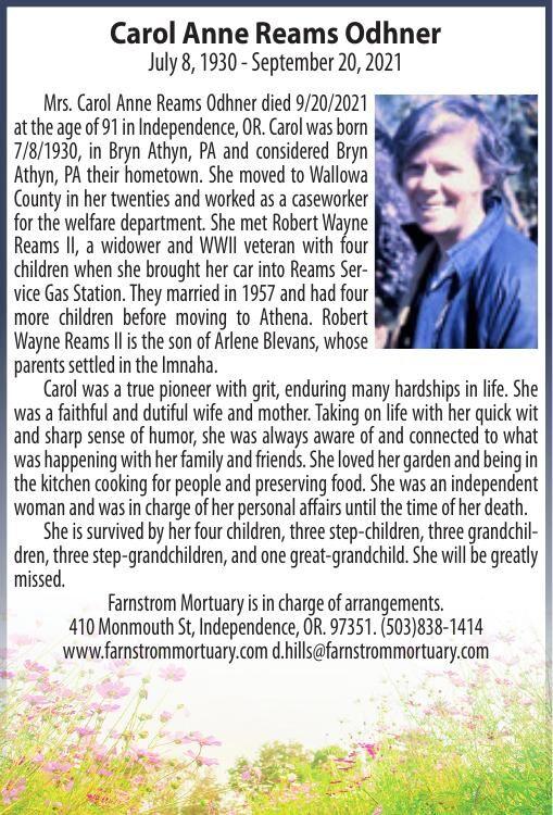 Obituary: Carol Anne (Odhner) Reams, July 8, 1930 - September 20, 2021
