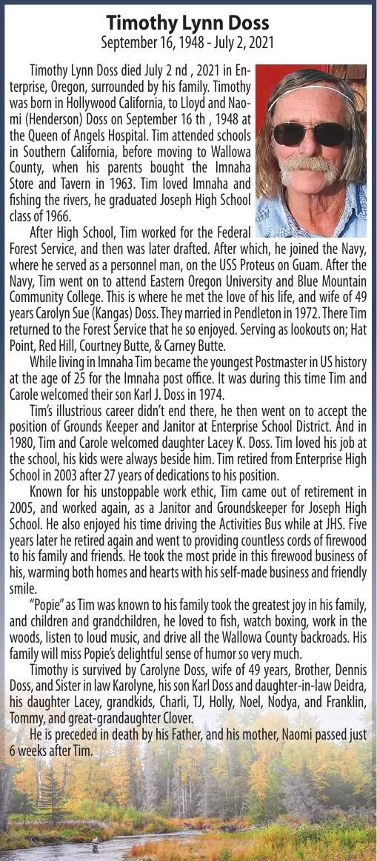 Obituary: Timothy Lynn Doss, September 16, 1948 - July 2, 2021