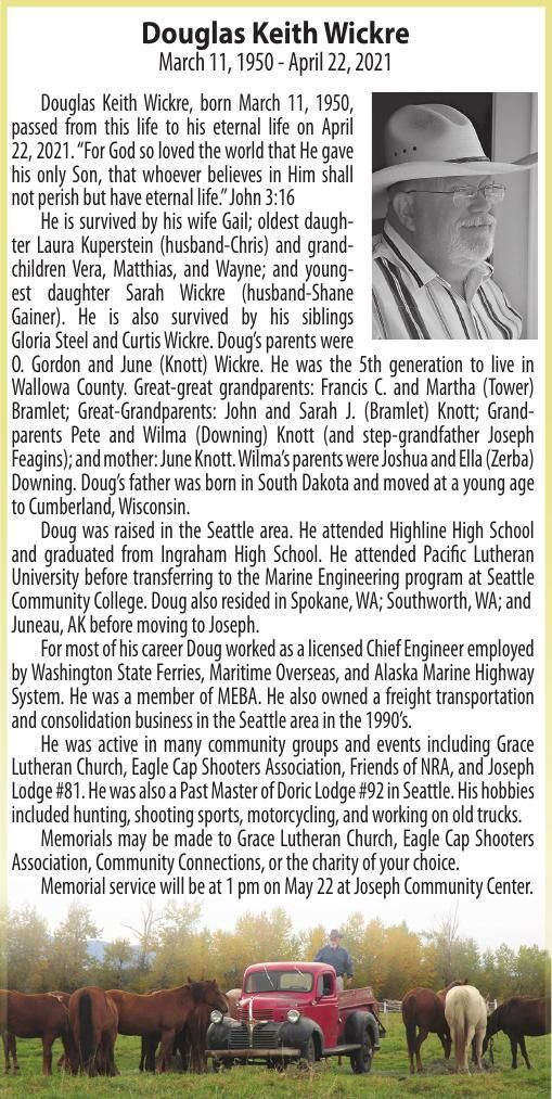 Obituary: Douglas, Keith Wickre March 11, 1950 - April 22, 2021
