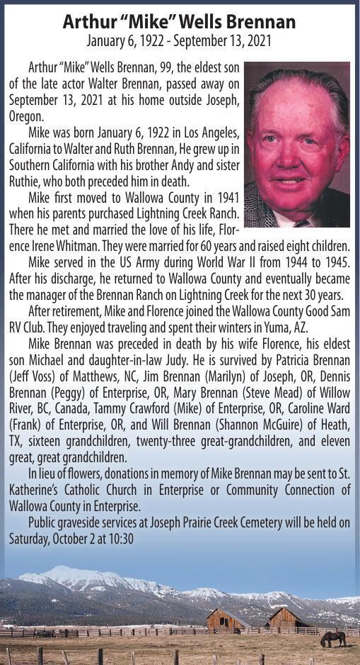 "Obituary: Arthur ""Mike"" Wells Brennan, January 6, 1922 - September 13, 2021"