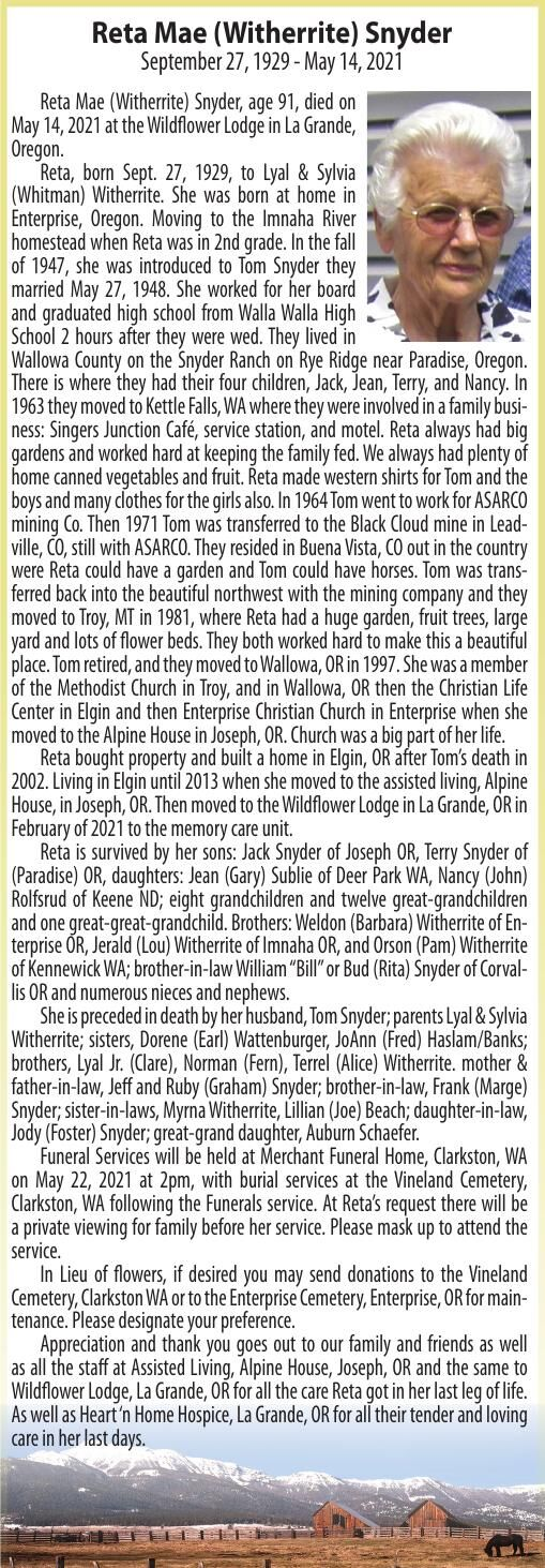 Obituary: Reta Mae (Witherrite) Snyder, September 27, 1929 - May 14, 2021