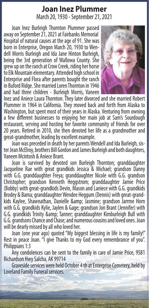 Obituary: Joan Inez Plummer, March 20, 1930 - September 21, 2021