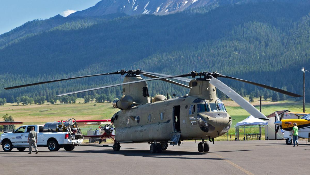 Fly-in Chinook towed