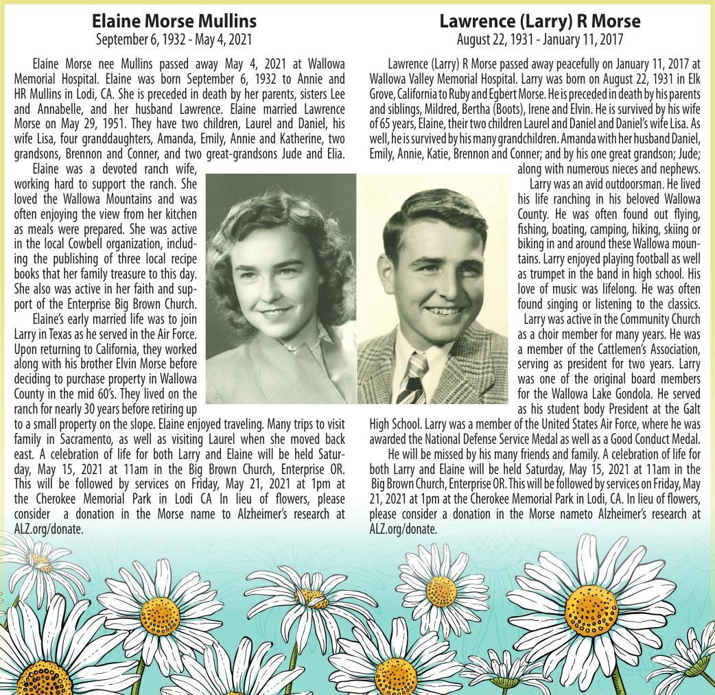 Obituary: Elaine Morse Mullins, September 6, 1932 - May 4, 2021; Lawrence (Larry) R Morse, August 22, 1931 - January 11, 2017