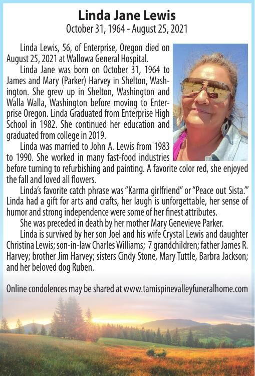 Obituary: Linda Jane Lewis, October 31, 1964 - August 25, 2021