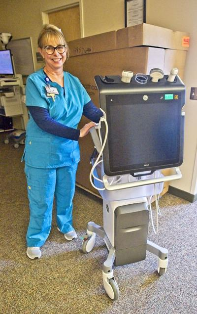 Hospital Radiology Technitian Suzy Lehr and portable ultrasound machine