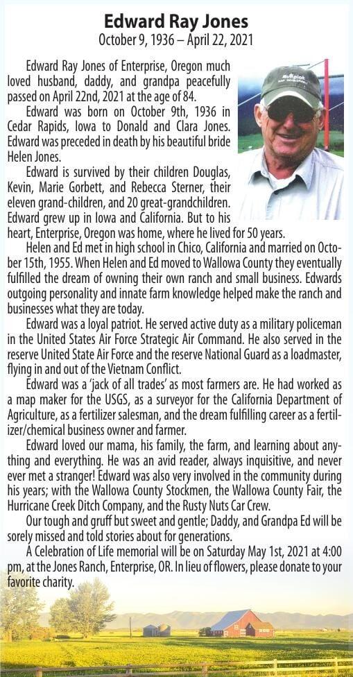 Obituary: Edward Ray Jones, October 9, 1936 – April 22, 2021