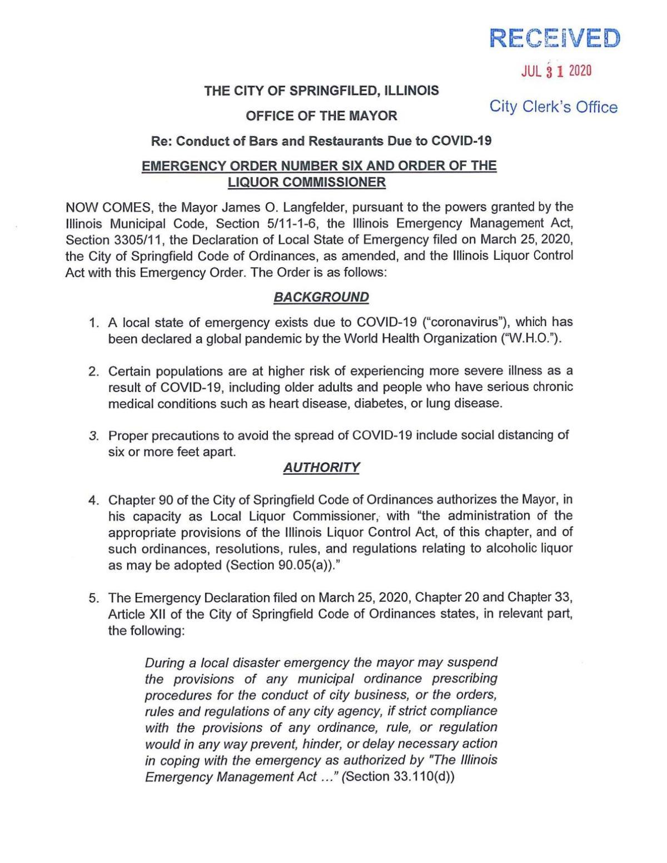 Springfield Executive Order - 7/31/2020