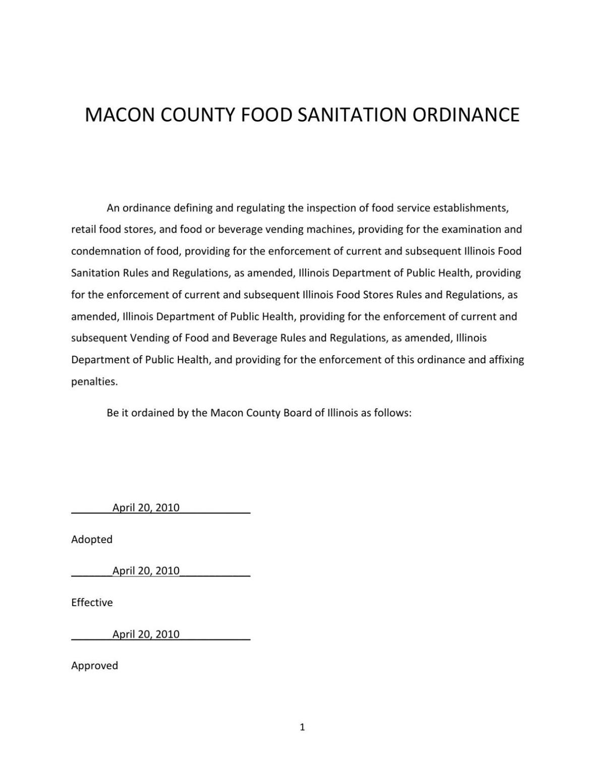 Macon County Food Sanitation Ordinance