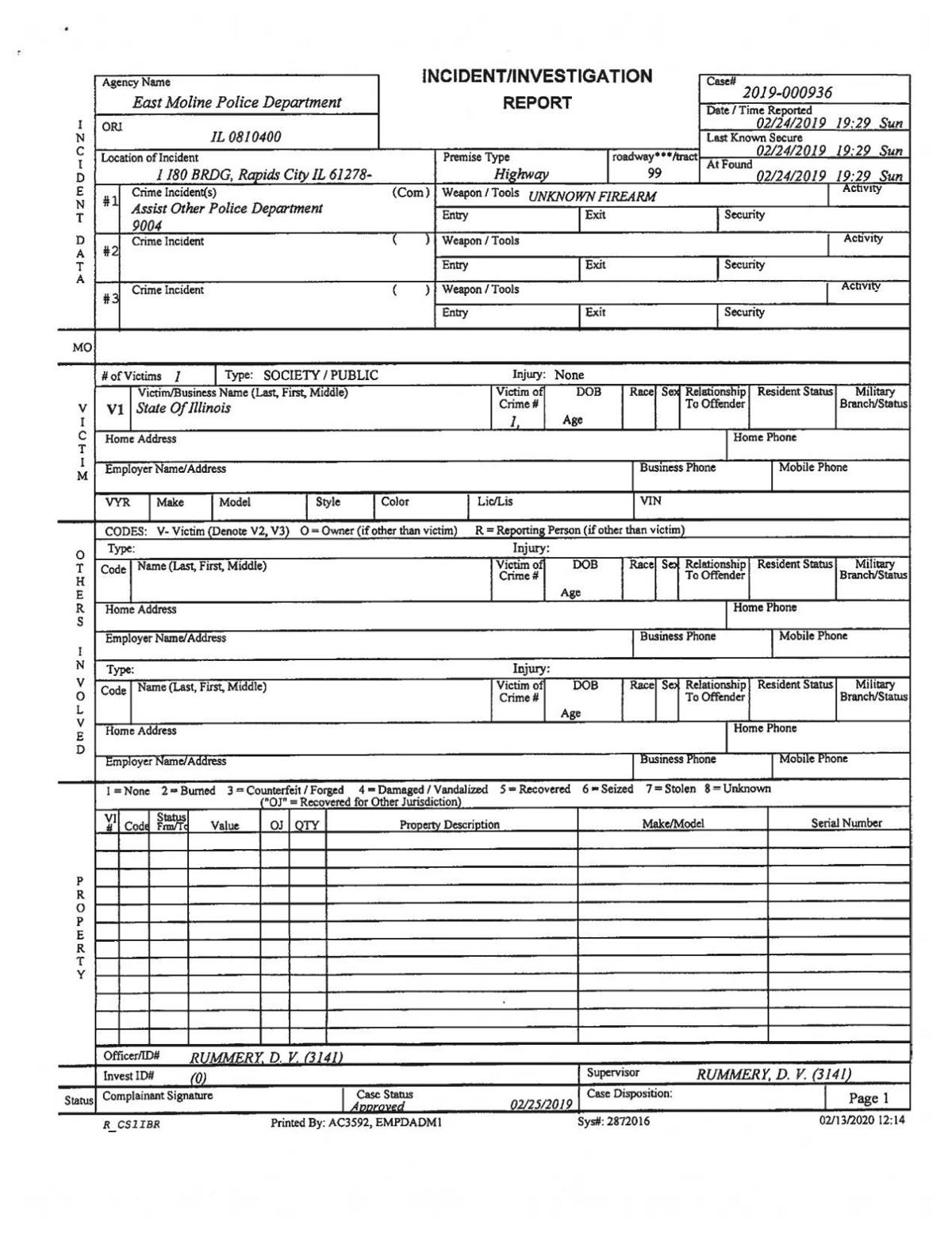 East Moline Police Report 2/24/19
