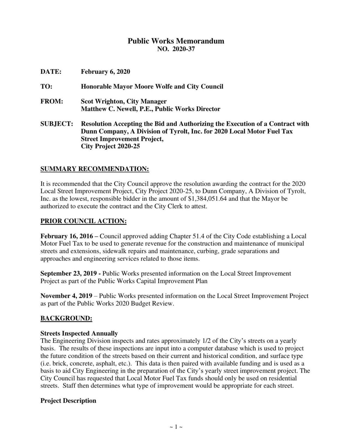 Memo for Awarding Contract for Street Improvement