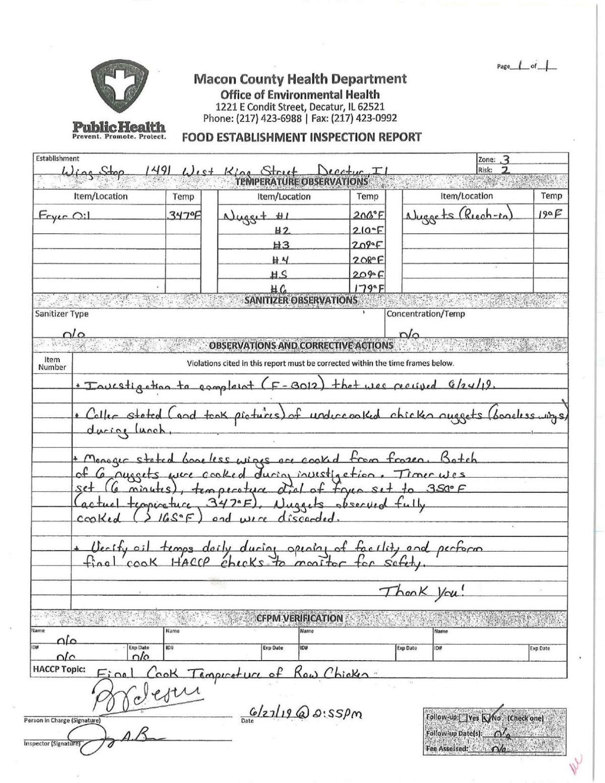 Wingstop complaint 6/27