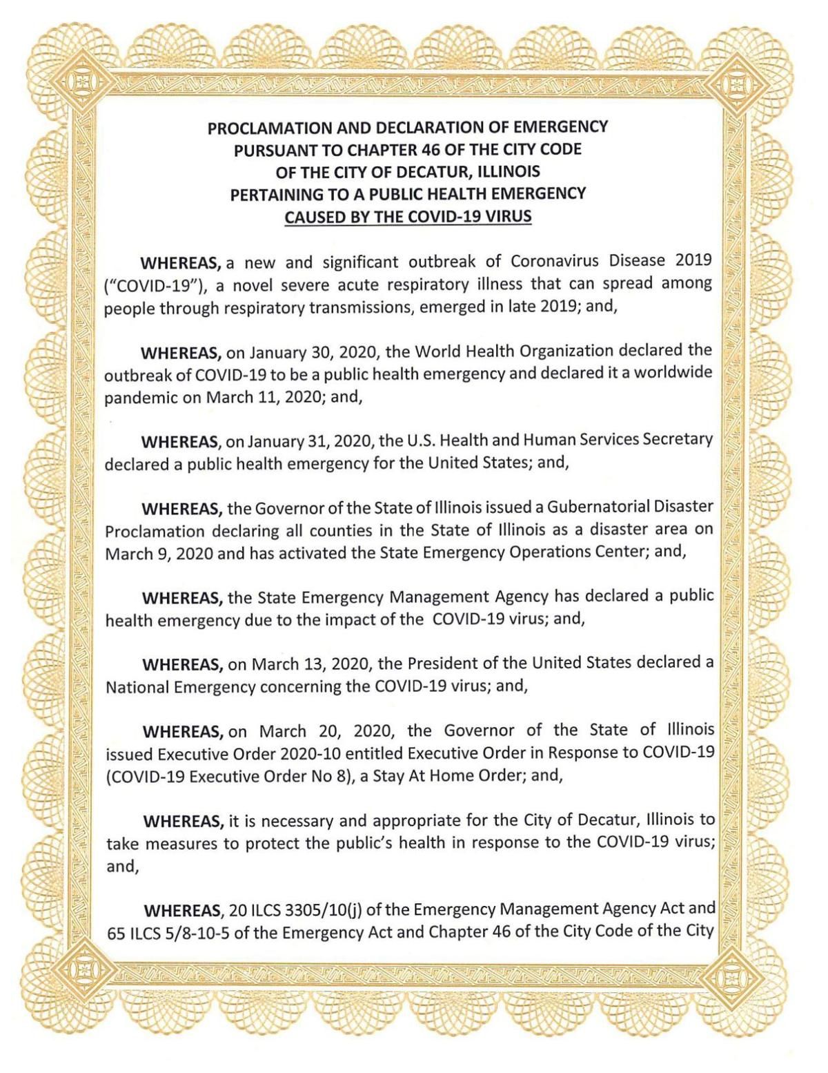 Decatur emergency proclamation