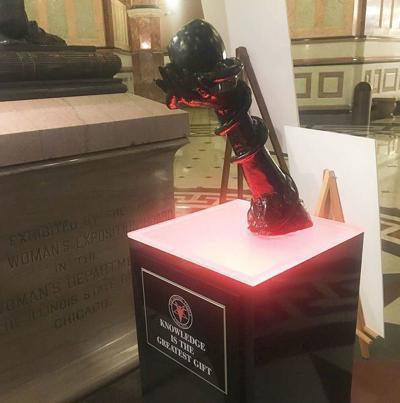 Satanic Temple statue among displays at Illinois Capitol